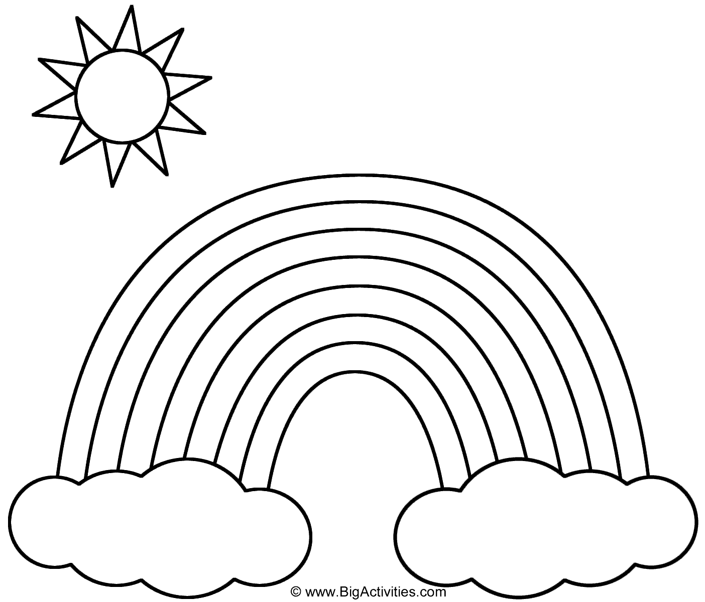 1404x1200 Rainbow With Clouds And Sun Coloring Page Nature Rainbow Coloring