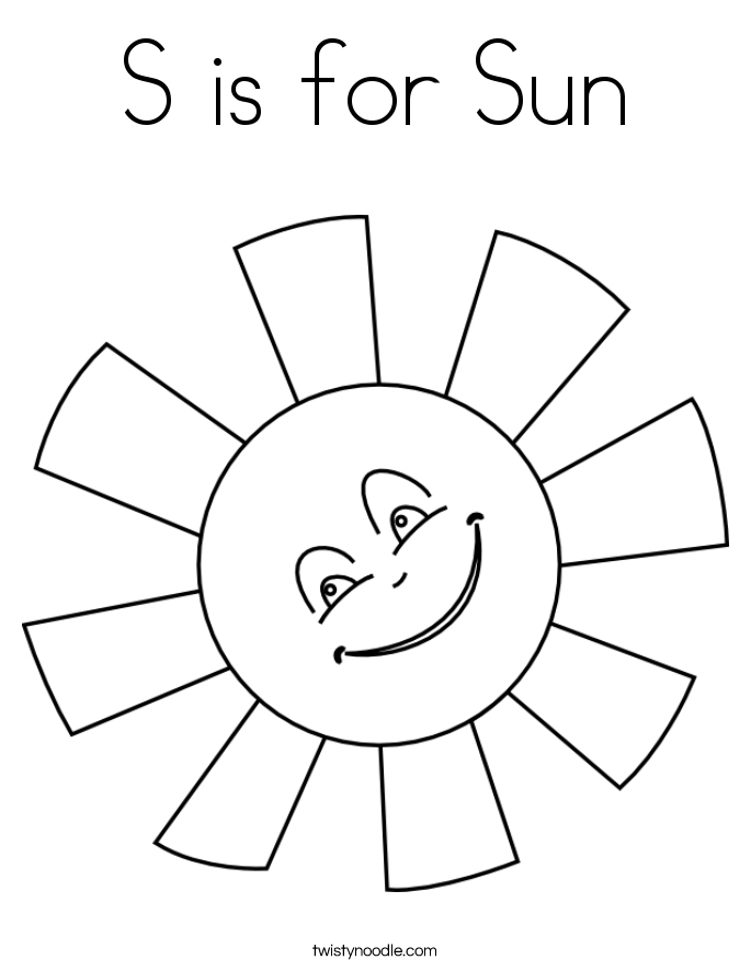 685x886 S Is For Sun Coloring Page