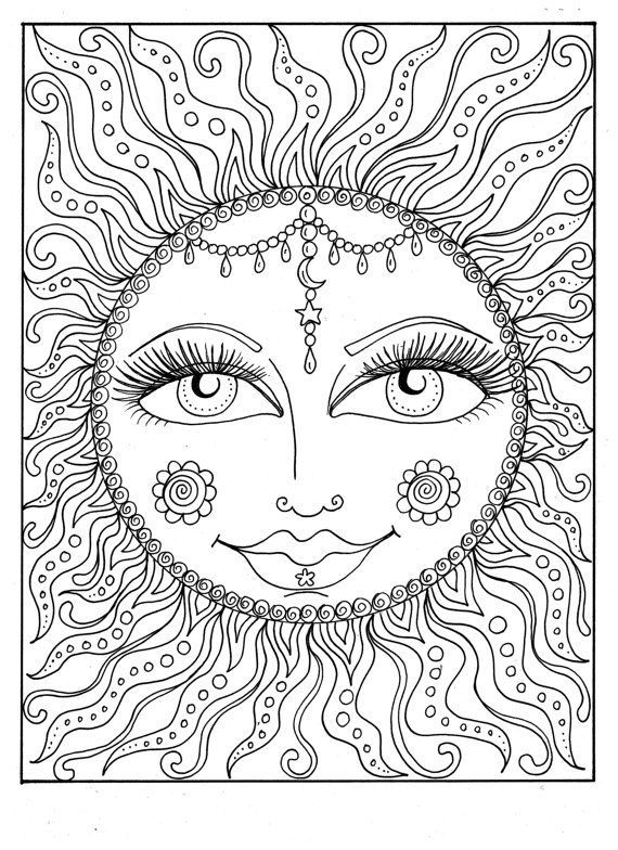 570x784 Instant Download Sun Summer Coloring Page Adult Coloring Page
