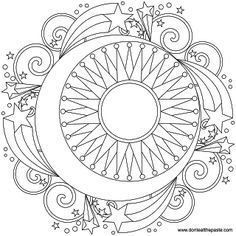 236x236 Sun, Moon And Stars Mandala Coloring Pages For Grown Ups Slunce