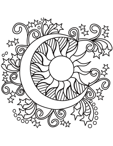 371x480 Sun And Moon Coloring Pages Pop Art Stars Page Free Printable