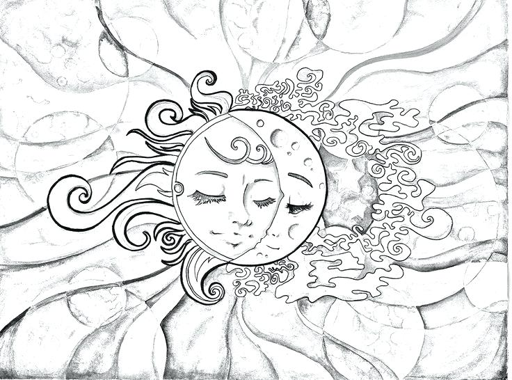 736x546 Sun And Moon Coloring Pages With Coloring Pages Plus Adult