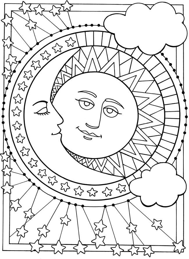 650x893 Sun Moon And Stars Coloring Pages On Trippy