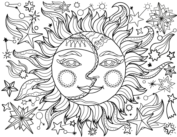 600x464 Sun And Moon Adult Coloring Page