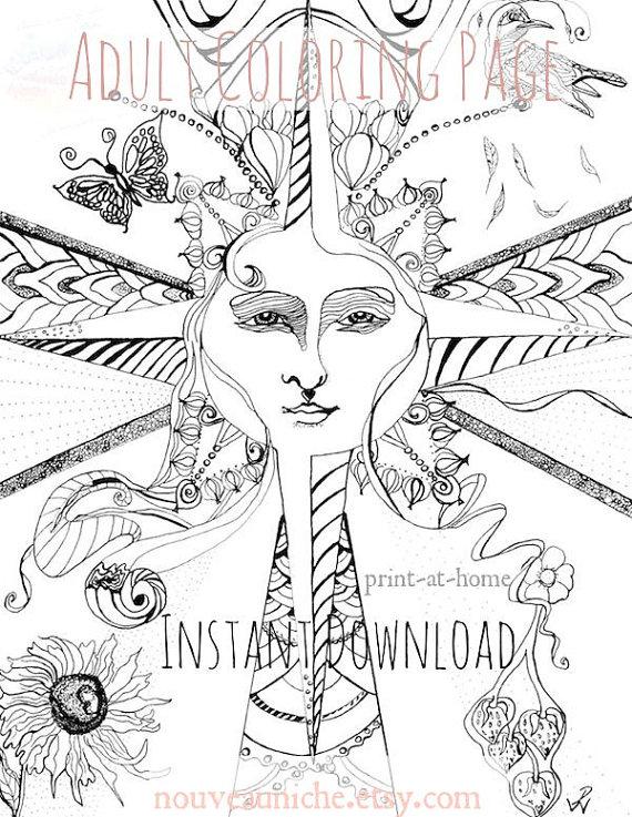 570x737 Adult Coloring Pages, Sun Illustration Zentangle, Plus Bonus