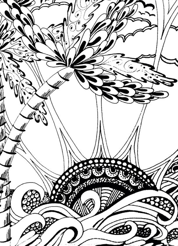 611x843 Adult Coloring Page Summer Sea And Sun