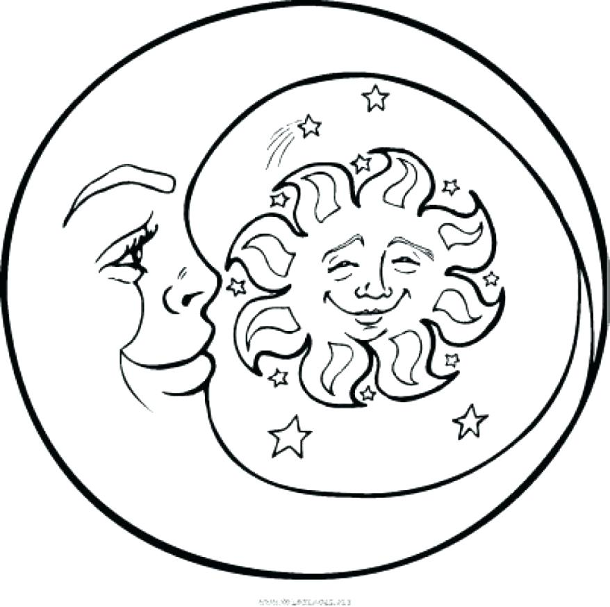 878x873 Sun And Moon Coloring Pages Together With Sun Moon Coloring Pages