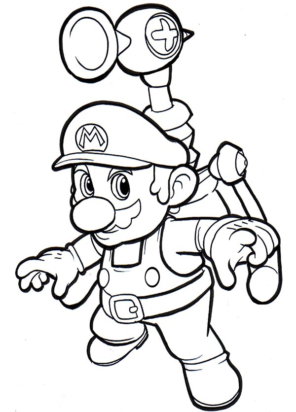 600x836 Mario Sunshine Coloring Pages