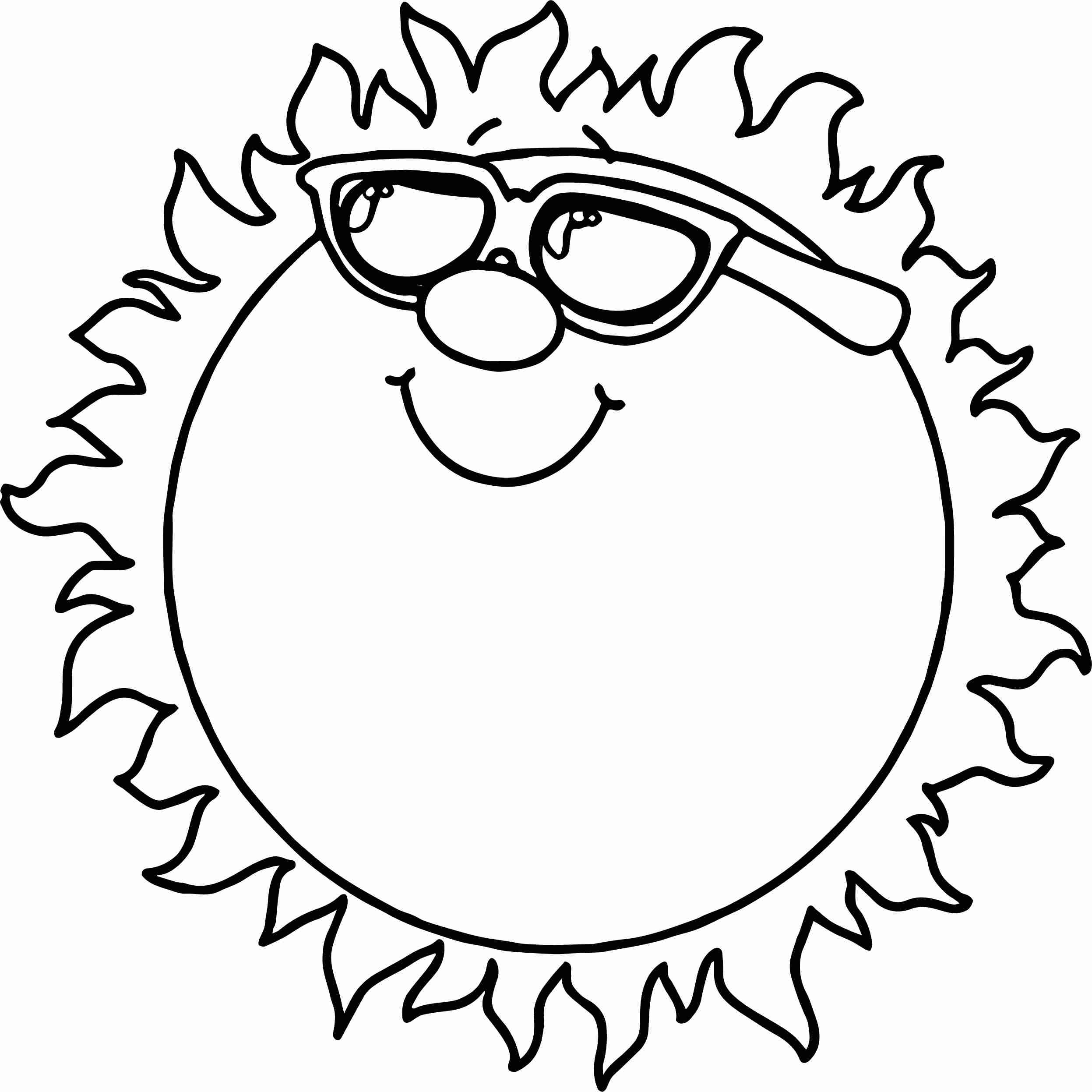 2494x2493 Smiley Sun With Sunglasses Printable For Preschoolers Coloring
