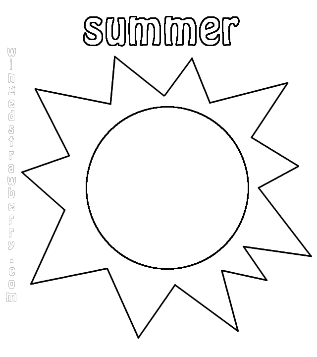 640x720 Summer Sun Coloring Page