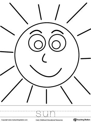 300x400 Sun Coloring Page And Word Tracing Tracing Worksheets