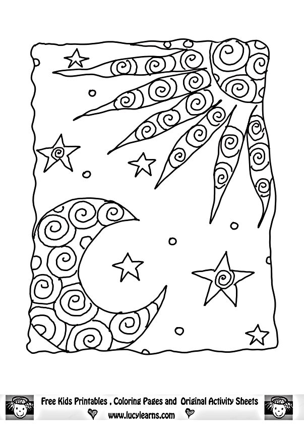 free coloring pages moon and stars | Moon And Stars Drawing at GetDrawings.com | Free for ...
