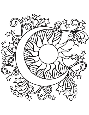 371x480 Coloring Pages Of Sun And Moon Pop Art Sun Moon And Stars Coloring