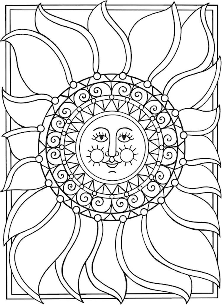 750x1028 Dover Spark Sun Moon Stars Coloring Page Adult Coloring Pages