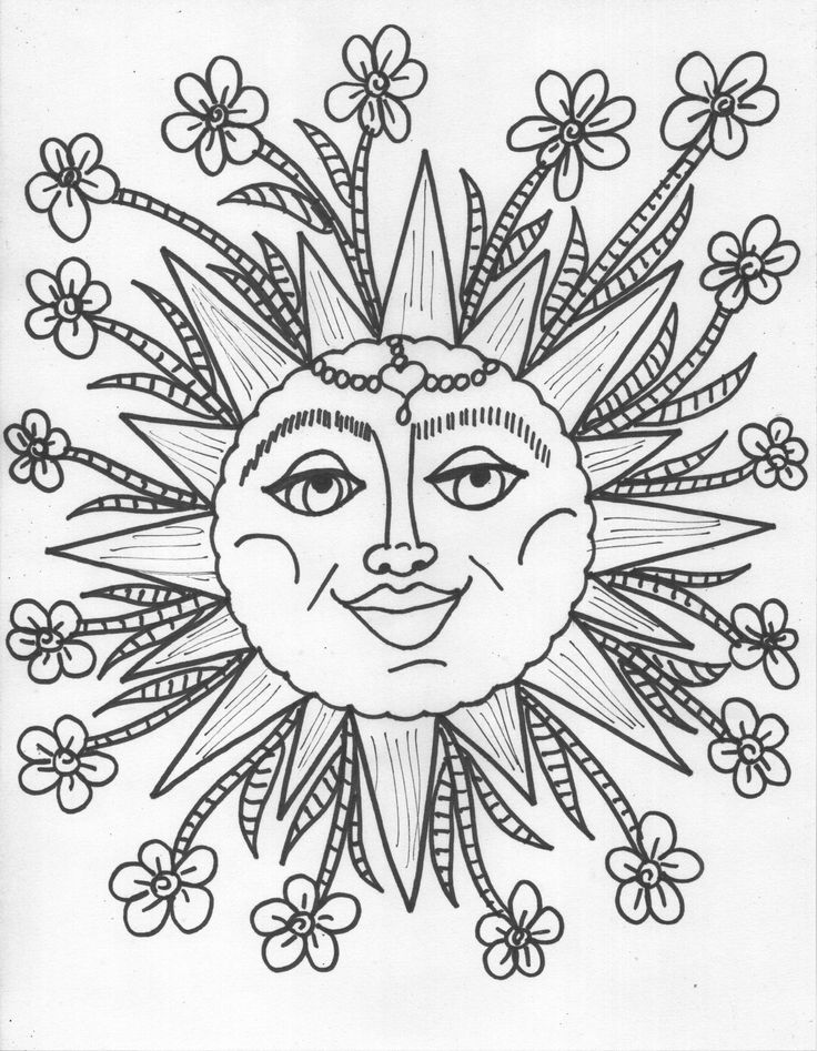 736x947 Adult Coloring Pages Free To Trippy Sun And Moon