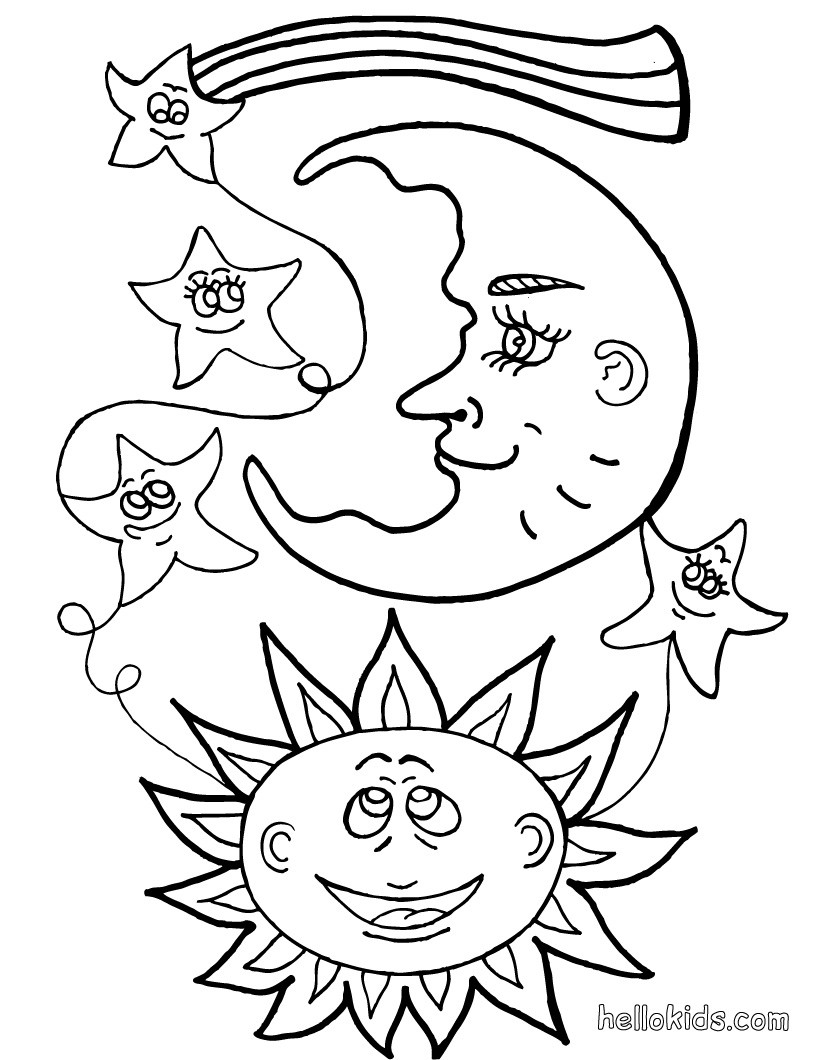 820x1060 Sun And Moon Coloring Pages