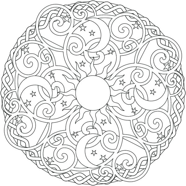 600x600 Moon Coloring Pages For Adults The Sun And The Moon Mandala Cute