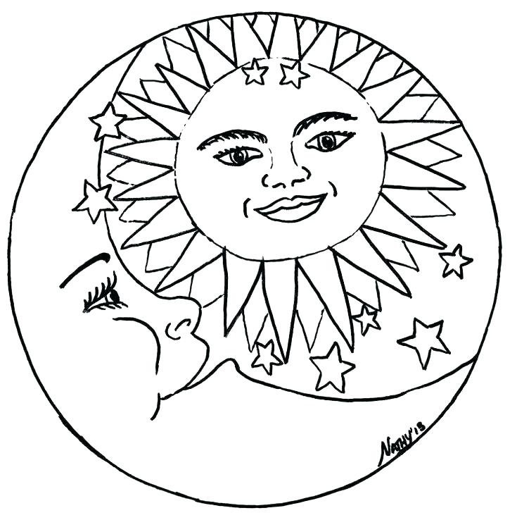 735x738 Sun And Moon Coloring Pages Beautiful Moon And Stars Coloring