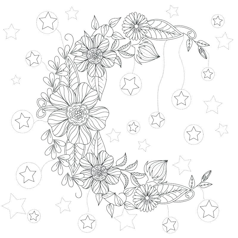 800x800 Sun And Moon Coloring Pages Moon Coloring Pages Floral Moon