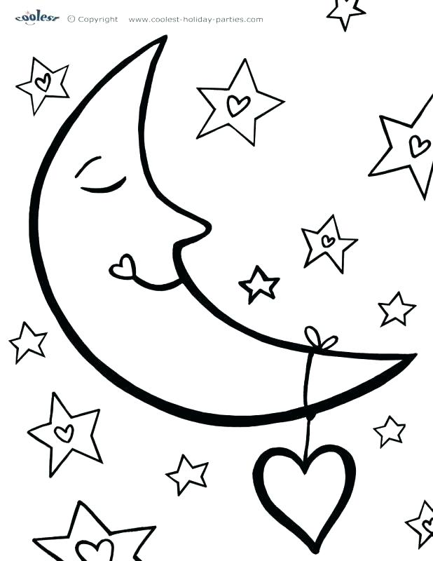 618x800 Sun Moon Stars Coloring Page