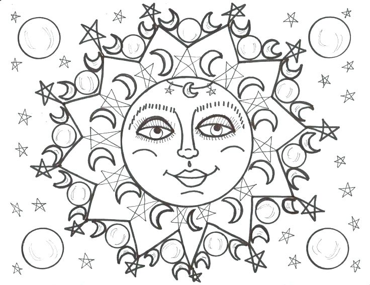 736x567 Coloring Pages Sun And Moon Drawing Sun And Moon Coloring Pages