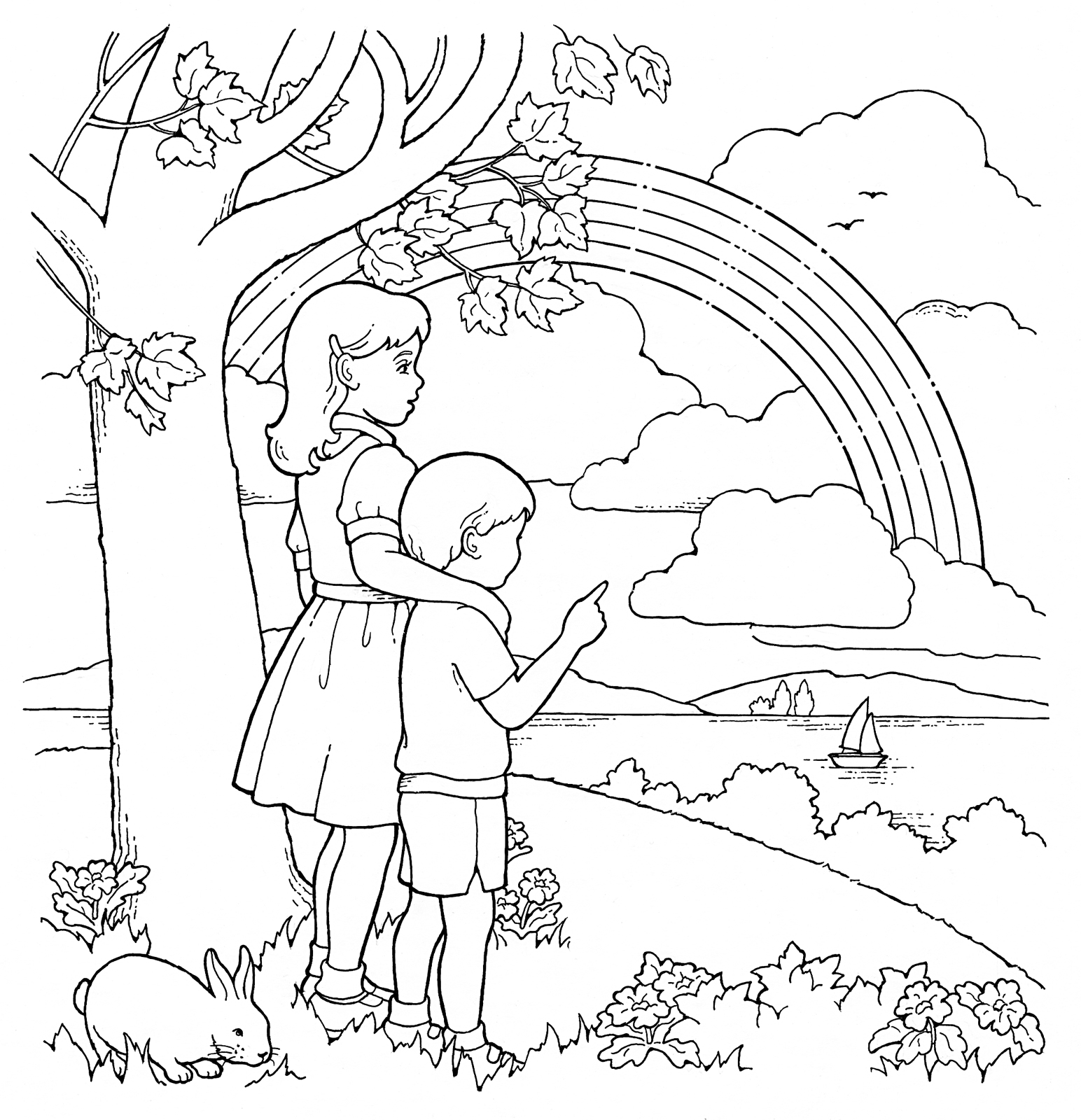 1544x1600 Primary Coloring Page Children And Rainbow Ldsprimary Lds Primary
