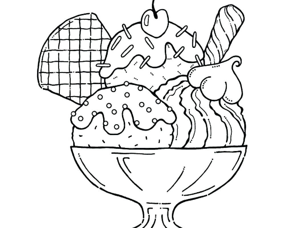 1000x800 Unparalleled Ice Cream Sundae Coloring Page Pages Coloringsuite