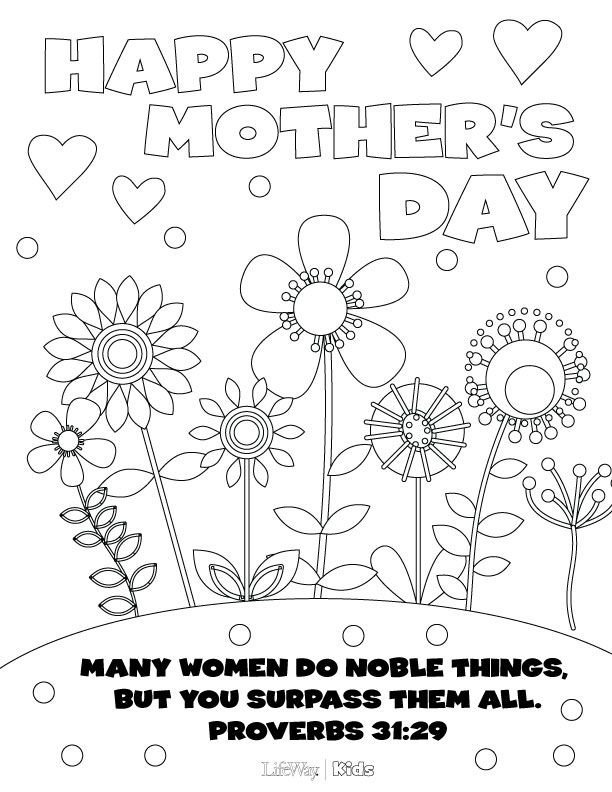 612x792 Free Sunday School Coloring Pages For Mother's Day
