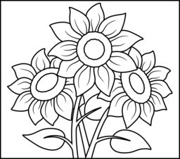 256x226 Sunflower Coloring Page Printables Apps For Kids