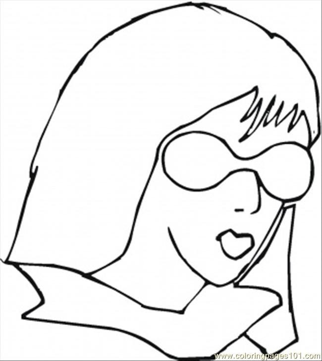 650x729 Girl Is Wearing Sunglasses Coloring Page