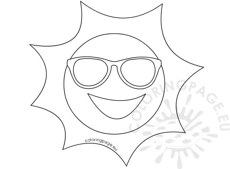 808x595 Happy Sun With Sunglasses Illustration Coloring Page