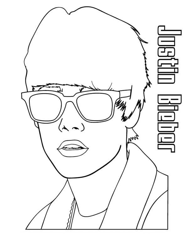 600x776 Justin Bieber Wearing Sunglasses Coloring Page