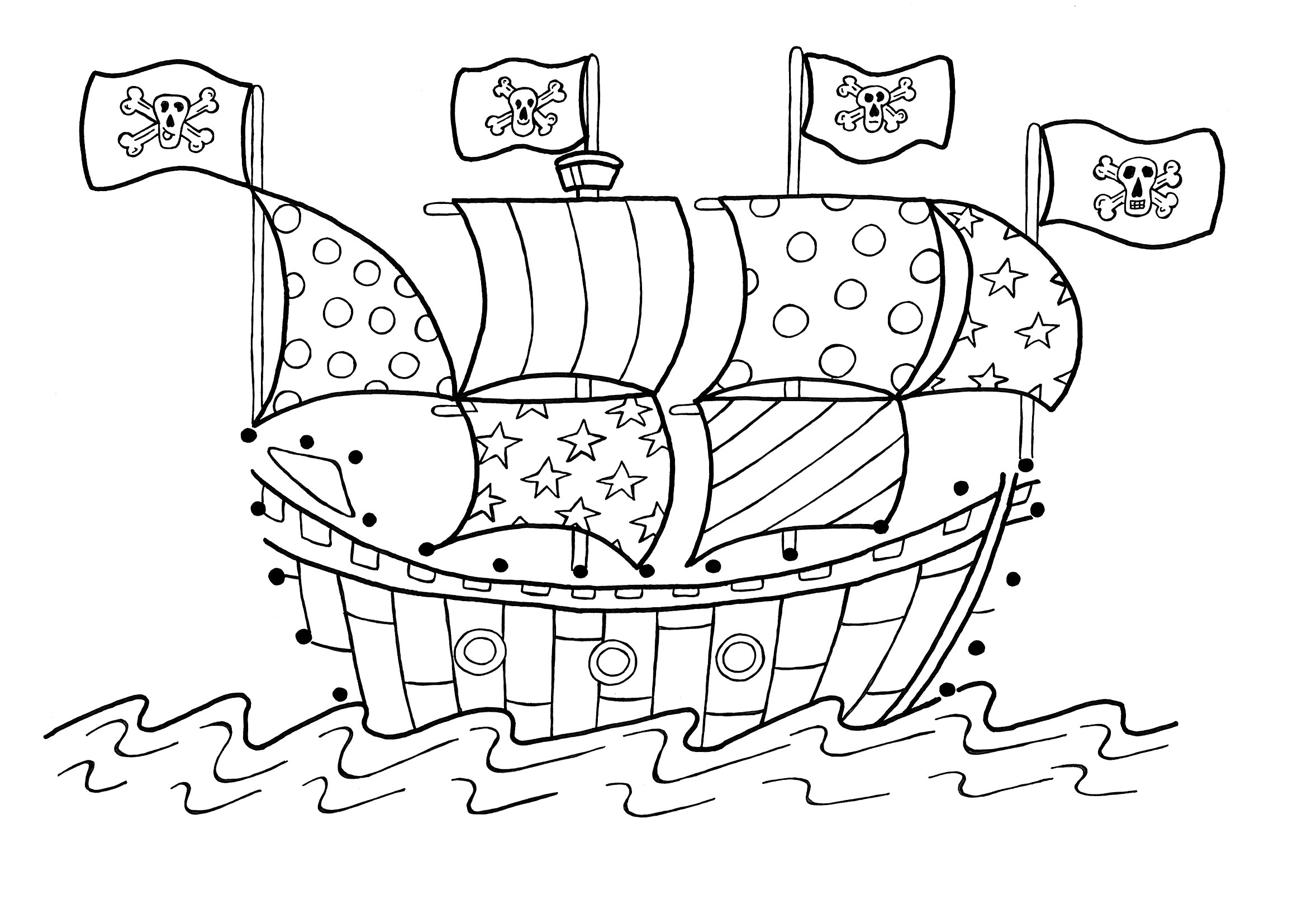 2339x1654 Pirate Ship Coloring Pages