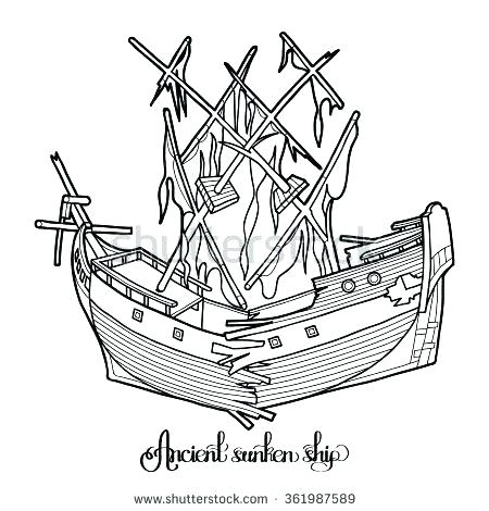 450x470 Pirate Ship Coloring Pages Sunken Pirate Ship Coloring Pages Photo