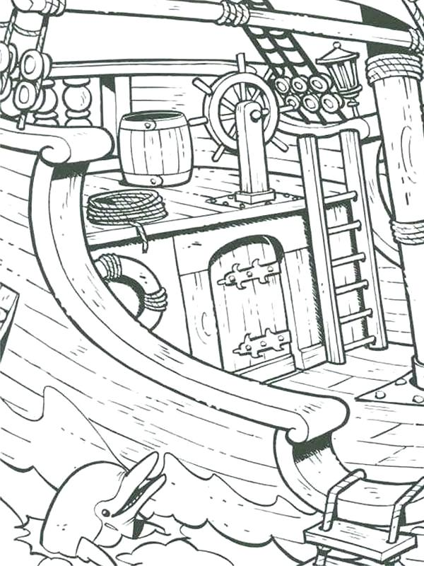 600x800 Ships Coloring Pages A Dolphin Near Pirate Ship Coloring Pages
