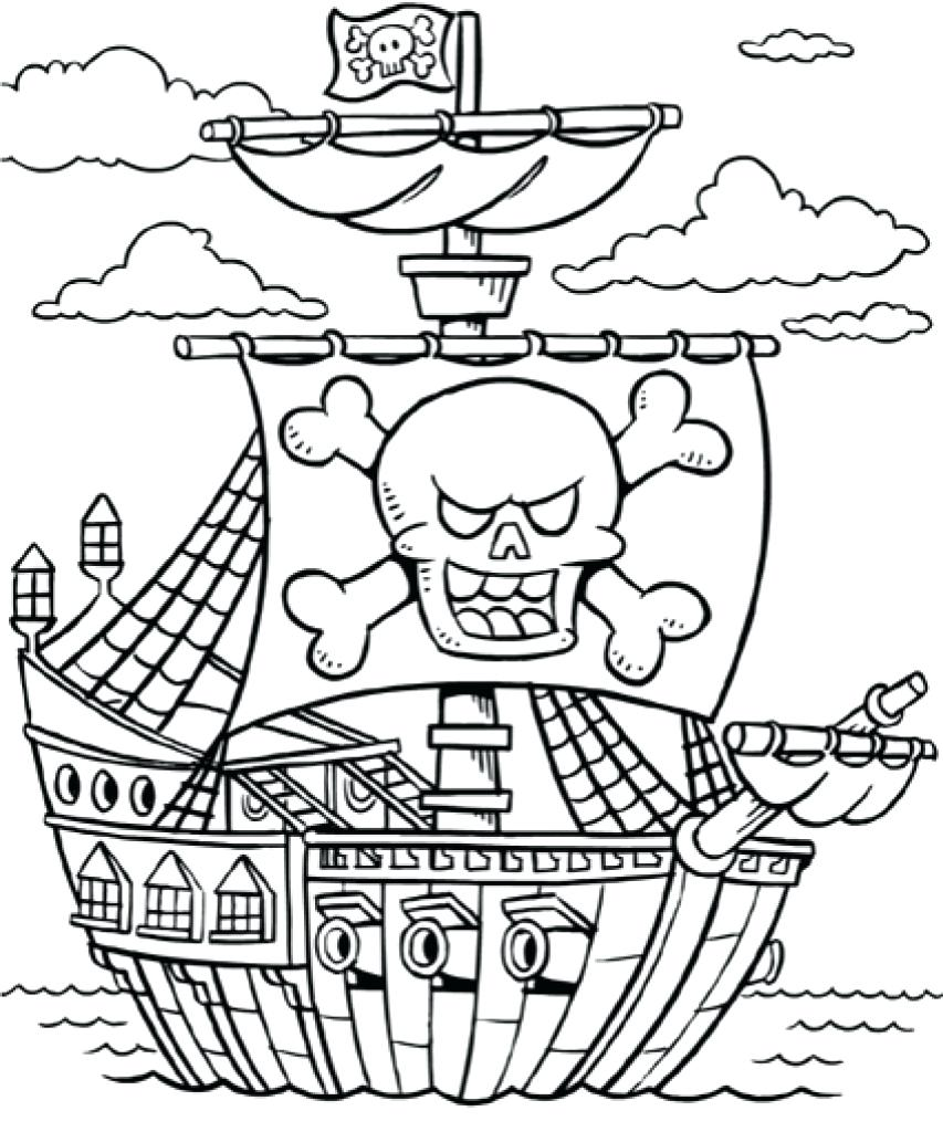 853x1024 Sturdy Sunken Pirate Ship Coloring Page Ships