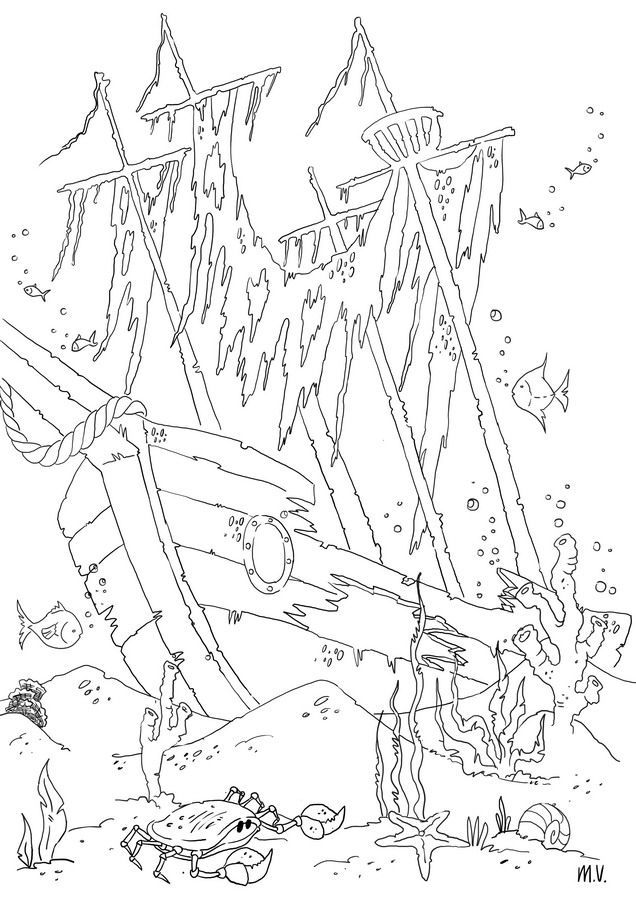 636x900 Shipwreck Coloring Pages Free