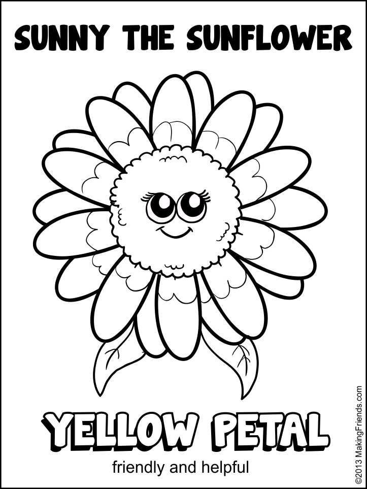 723x963 Girl Scout Daisy Yellow Petal Sunny The Sunflower Coloring Page
