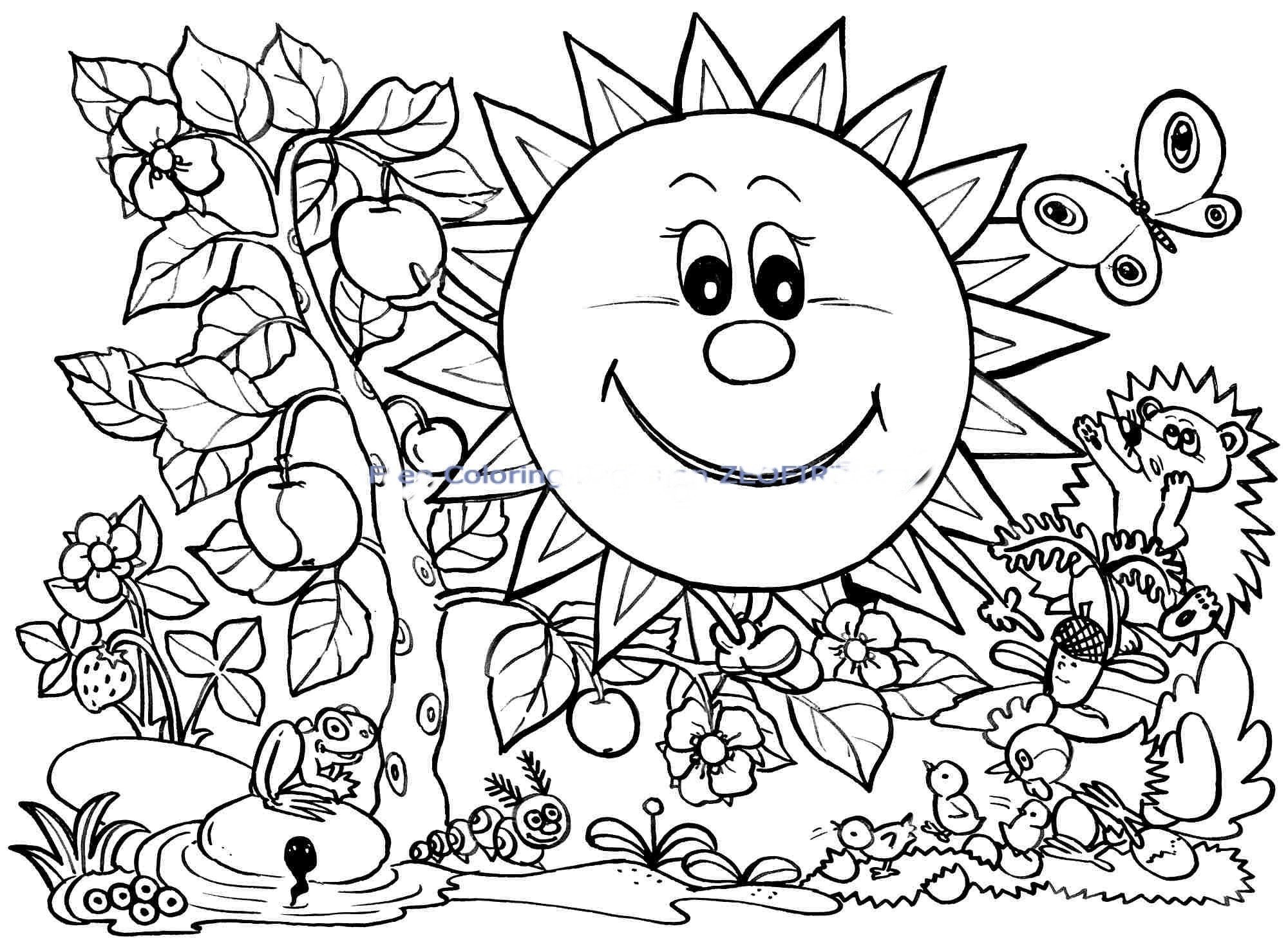 2000x1470 Insider Springtime Pictures To Color Spring Coloring Pages Sunny