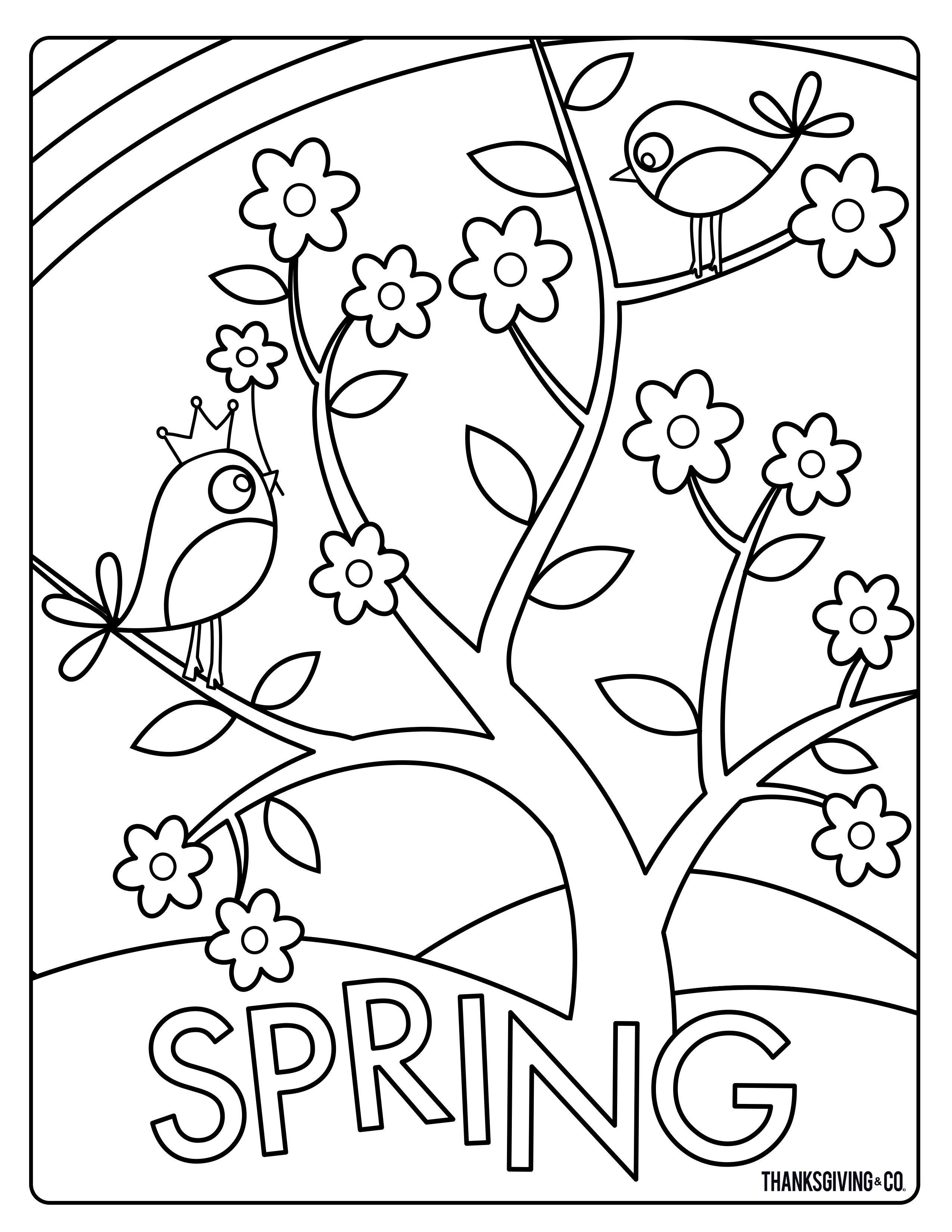 2550x3300 Sweet And Sunny Spring Easter Coloring Pages