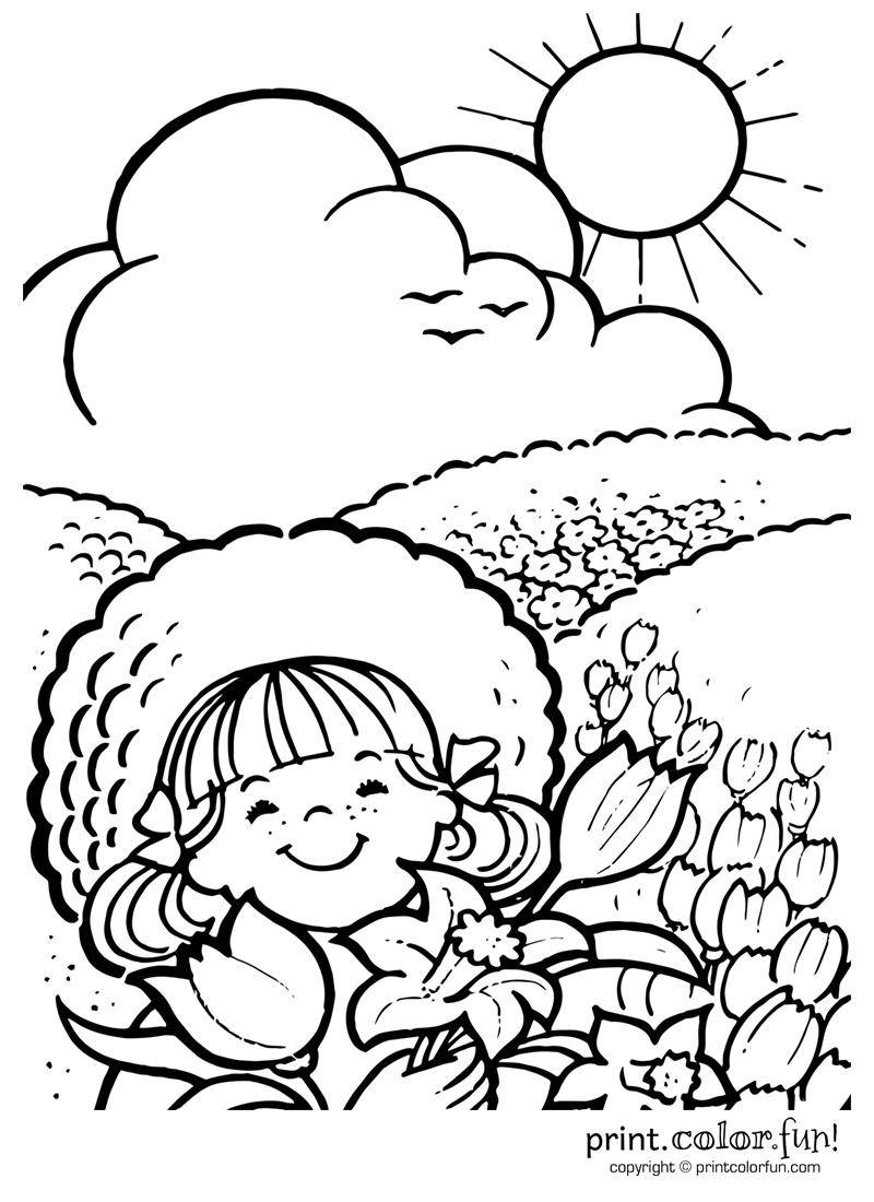 800x1100 Enjoying A Sunny Day Coloring Page