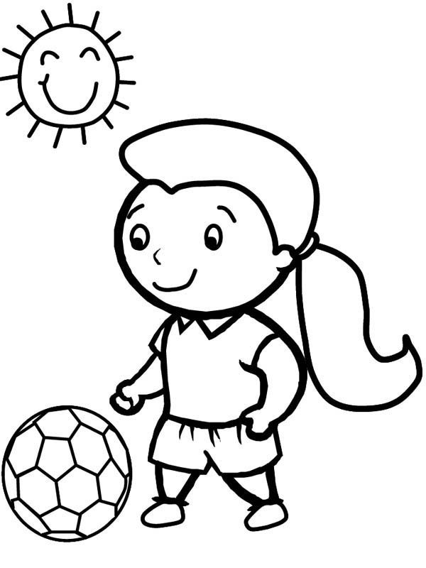 600x800 A Cute Little Girl Playing Soccer In A Sunny Day Coloring Page