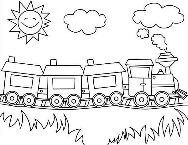 600x462 Steam Train On Sunny Day Coloring Page