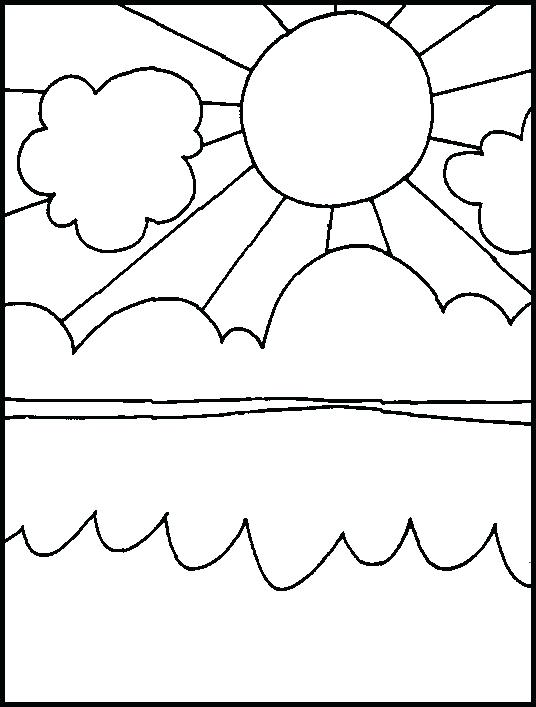 536x707 Sunny Day Coloring Pages Sun Over The Ocean Free Printable