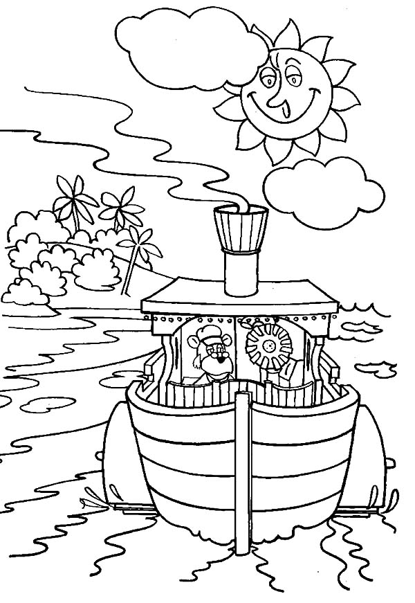600x871 The Bearboat Sailing On Sunny Day Coloring Pages The Bearboat