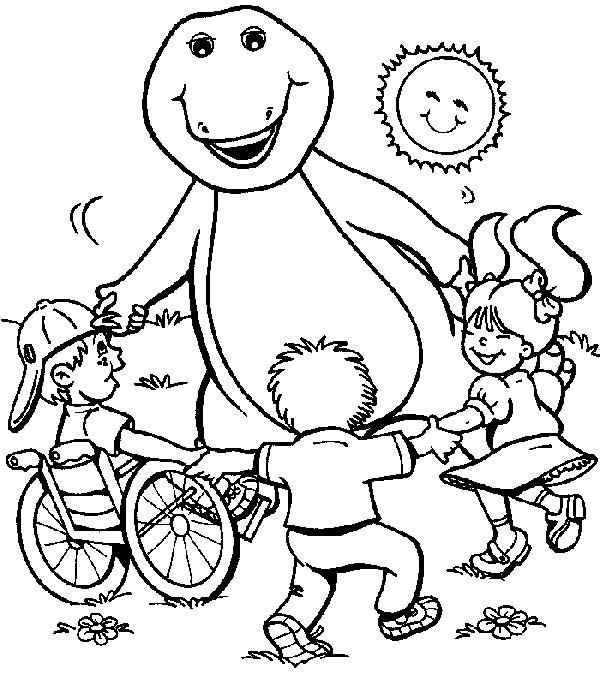 600x687 Barney Playing With Kids On Sunny Day Coloring Pages Best Place