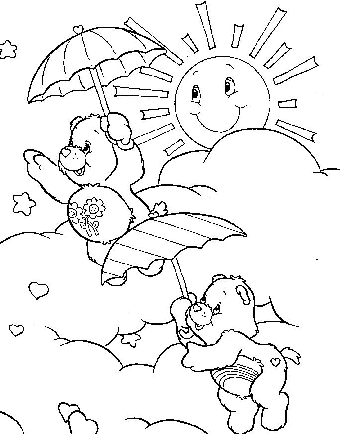 684x872 Care Bear Playing On A Sunny Day Coloring Pages