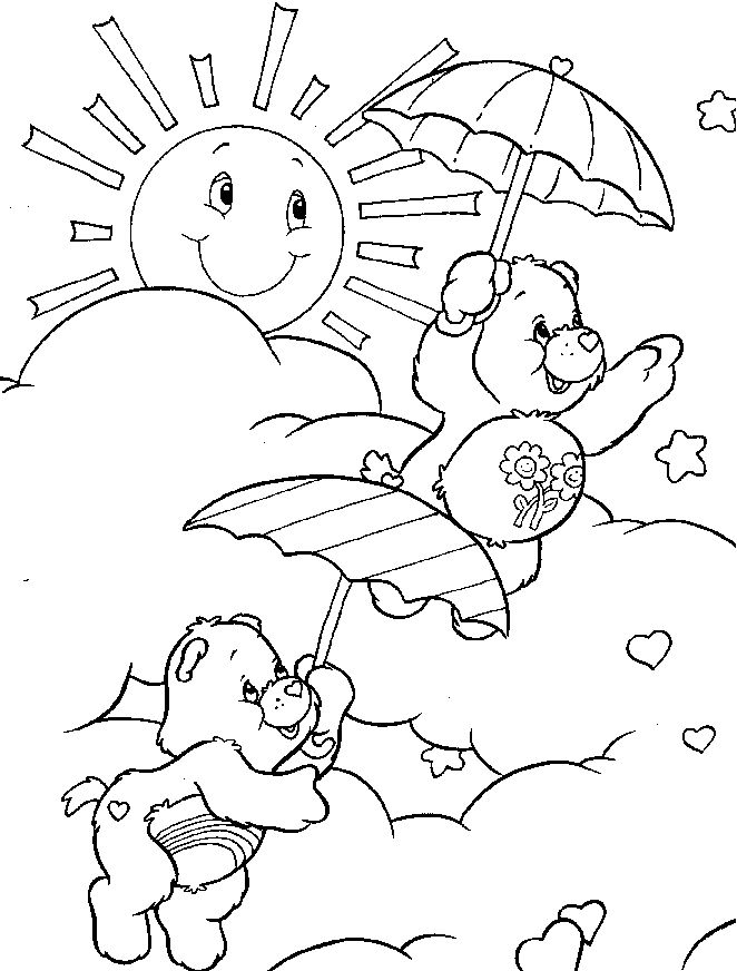 662x872 Care Bear Playing On A Sunny Day Coloring Pages Kids Printable