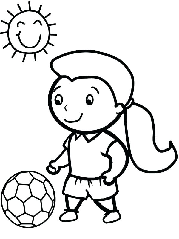 600x800 Sunny Day Coloring Pages Cute Little Girl Playing Soccer