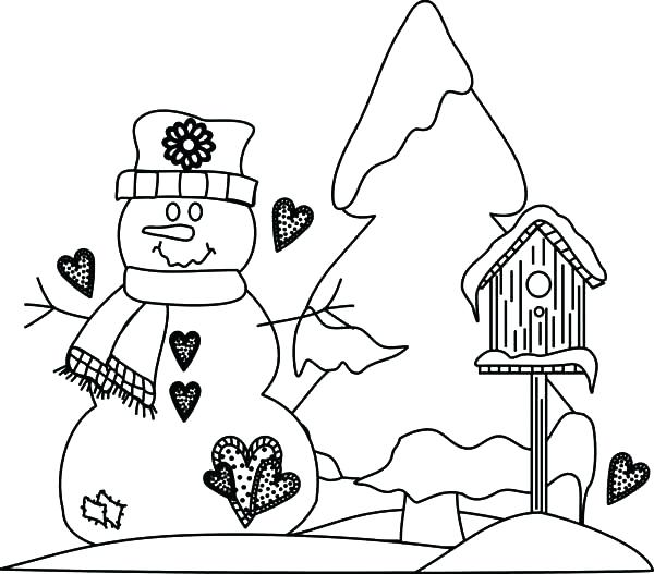 600x527 Weather Coloring Page Bird House In Snowy Weather Coloring Pages